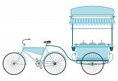 pic of rickshaw  - Retro ice cream bike on a white background - JPG