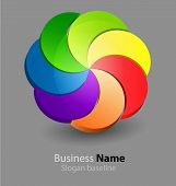 Abstract glossy 3D chromatic business icon