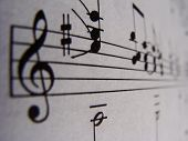 pic of treble clef  - A macro shot of some sheet music.