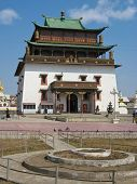 stock photo of ulaanbaatar  - The Gandantegchinlen Khiid Monastery commonly known as Gandan Monastery is a Tibetan - JPG