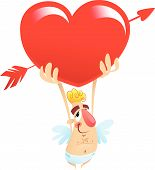 stock photo of feeling stupid  - A cartoon funny cupid holding a huge heart over his head - JPG