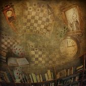 stock photo of rabbit hole  - Abstract background to the novel Alice in Wonderland - JPG