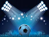 Stadium Lights And Soccer Ball Background