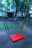 picture of lurch  - red swing on the chain for happy amusement - JPG