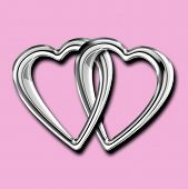 Linked Silver Hearts Isolated On Pink