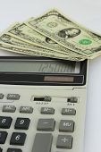 Dollar Bank Notes And Calculator