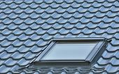 Roof Window On A Grey Tiled Rooftop, Large Detailed Loft Skylight Background, Diagonal Roofing