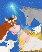stock photo of nativity scene  - Nativity scene showing birth of Jesus 