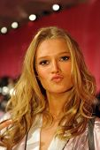 NEW YORK NY - NOVEMBER 13: Toni Garrn poses backstage at the 2013 Victoria's Secret Fashion Show