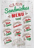Постер, плакат: Sandwiches menu wood