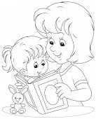 stock photo of kiddie  - Mom reads a book to her infant daughter - JPG