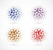 picture of neutrons  - Set of colorful molecular structures in the form of a sphere - JPG