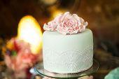foto of marriage decoration  - Beautiful and tasty wedding cake at wedding reception - JPG