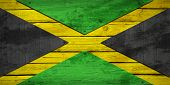 stock photo of jamaican  - Jamaican flag painted on wooden boards - JPG
