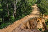 picture of landslide  - Landslide dirt road in forest in Chiangmai - JPG