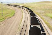 picture of railcar  - rail cars loaded with coal being transported from nearby mines to power plants in Wyoming - JPG