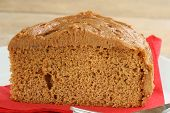picture of toffee  - slice of moist toffee fudge cake with toffee cream topping - JPG