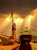 stock photo of shipbuilding  - Ship in the port of dramatic scenery - JPG
