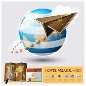 image of passport template  - Travel And Journey World Map Infographic Background Design Template - JPG