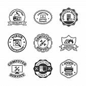 picture of peripherals  - Computer software virus control and peripheral devices repair professional quality service labels set black  isolated vector illustration - JPG