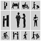 picture of postman  - Delivery person courier service postman job icons black set isolated vector illustration - JPG