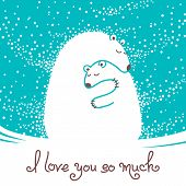 picture of baby bear  - Greeting card with mother bear hugging her baby - JPG