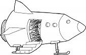 stock photo of crew cut  - Cartoon outline of pilots looking from spacecraft - JPG