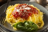 picture of spaghetti  - Homemade Cooked Spaghetti Squash Pasta with Marinara Sauce