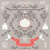 foto of bridal shower  - Wedding invitations design template set - JPG