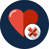 foto of glyphs  - Heart sign web icon with delete glyph vector icon in flat style eps 10 - JPG