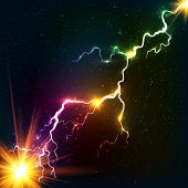 stock photo of lightning  - Rainbow colors shining cosmic plasma vector lightning - JPG