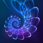 stock photo of cosmic  - Blue abstract vector fractal shining cosmic spiral - JPG