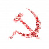 stock photo of communist symbol  - Hammer and sickle symbol of Soviet Union isolated on white - JPG