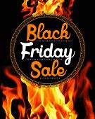 stock photo of friday  - Black Friday Sale sticker on background with flames - JPG