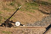 foto of levers  - Switch reversing lever old and rusty in an abandoned railway - JPG