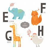 picture of zoo  - Cute vector zoo alphabet with cartoon animals isolated on white background - JPG