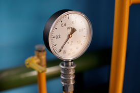 foto of gases  - Manometer MP 100 is used to measure the pressure of liquids and gases. Mounted on the manifold. ** Note: Soft Focus at 100%, best at smaller sizes - JPG