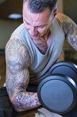 pic of concentration man  - closeup of man making seated dumbbell concentration curl  - JPG