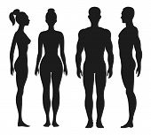 picture of human face  - Front and side view silhouettes of man and woman - JPG