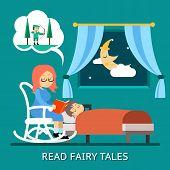 stock photo of fairy-tale  - Read fairy tales - JPG