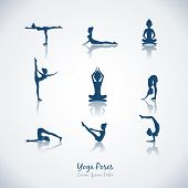 image of breathing exercise  - Set vector yoga poses - JPG