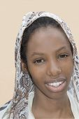 picture of plumper  - Young Afro beauty wearing a veil in the street - JPG