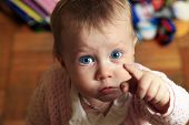 foto of little kids  - Portrait of a beautiful little girl with a surprised face - JPG