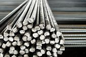 image of rod  - Closeup of Steel Rods or Bars, to Reinforce Concrete, Stacked Together