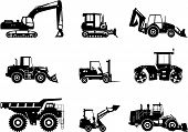 picture of earth-mover  - Silhouette illustration of heavy equipment and machinery - JPG