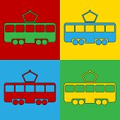 picture of tram  - Pop art tram symbol icons - JPG