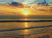 stock photo of horizon  - Sea horizon sunset - JPG