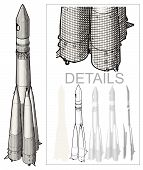 foto of yuri  - Retro Space Rocket at Engraving style - JPG