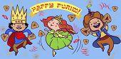 stock photo of purim  - Happy jewish children in fancy dress dance and injoy Purim - JPG
