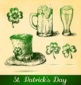 stock photo of clover  - Two beers with clovers for St Patrick - JPG